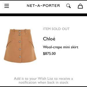 Chloe high waist mini skirt wool crepe size 36